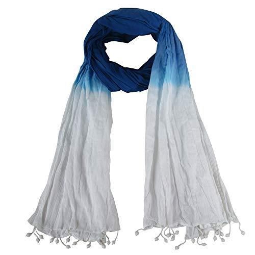 Spring Collection Tie Dye Crinkle and Beaded Tassel Large Scarf: Indigo and White
