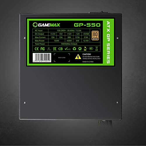 GameMax GP-550 80 Plus Bronze GP 550W Active PFC 14cm Fan ATX Power Supply Unit - Black