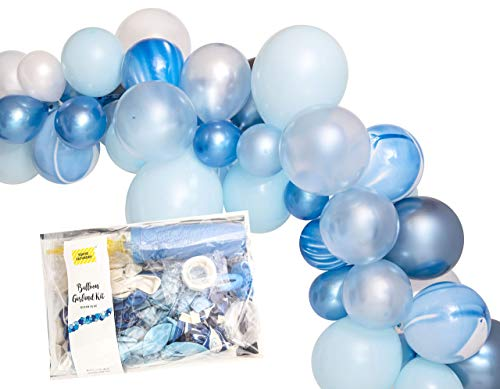 16ft Chrome Ocean Baby Blue Balloon Party Decoration Arch Garland Kit, Total 223pc Set, Tape, Tie Tool, Instruction Included - by TOKYO SATURDAY (Blue Garland)