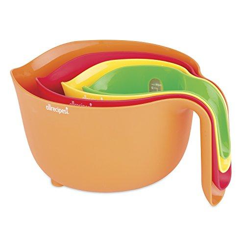 Allrecipes 4Piece Nested Prep Essentials Mixing Bowls, Multicolor