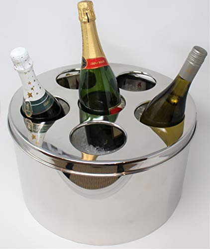 """My Swanky Home Luxe Large Silver Six Bottle Wine Chiller Beverage Tub 16"""" Champagne Ice Bucket from My Swanky Home"""
