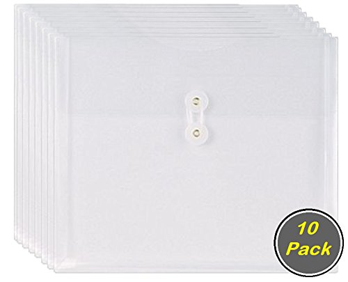 1InTheOffice Poly Envelopes w/Side Opening, Letter, Clear, 10/Pack Button Closure Poly Envelope