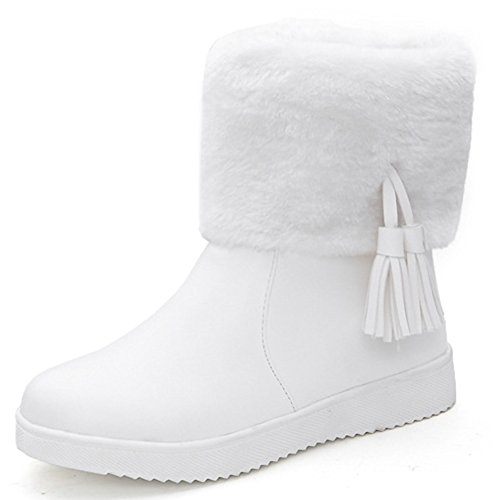 IDIFU Women's Warm Fringes Faux Fur Lined Winter Boots Thick Ankle High Snow Booties White 4 B(M) US by IDIFU