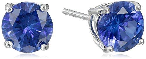 Sterling Silver Gemstone Round Earrings
