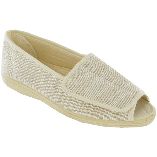 Mirak Touch Fastened Textile Lined Womens Summer Shoes - Red - Size 3 4 5 6 7 8 Beige