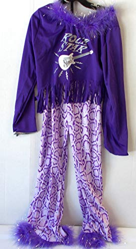 Bday Parties Purple Black Pop Star Zebra Print Pants Diva Child Costume S 4-6 -