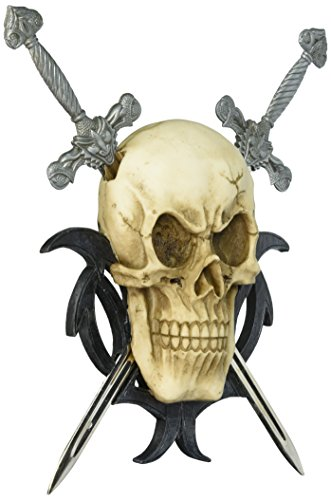- Dragon Crest SKULL TWO SWORDS WALL PLAQUE