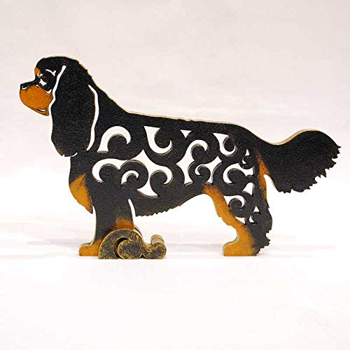Cavalier King Charles Spaniel tricolour dog figurine, dog statue made of wood (MDF), statuette hand-painted