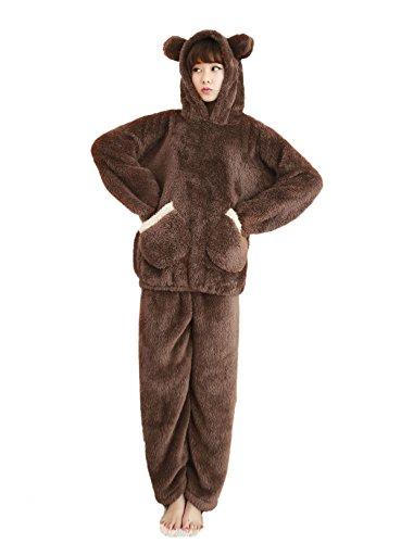 Pajama Striped Flannel Pants (Nanxson TM Women's Winter Warm Bear Ear Flannel Pajamas Set With Pant SYW0001 (XXL, Coffee))