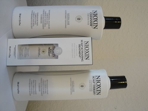 Nioxin System 2 Kit :Cleanser 16.9 oz, Conditioner Scalp Therapy 16.9 oz, Scalp Activating Treatment 1.35 oz