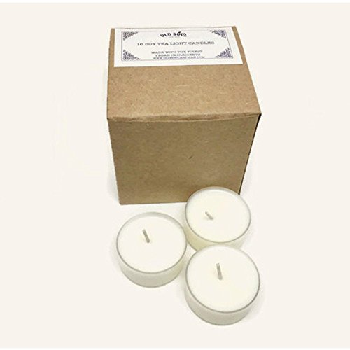 [Egyptian Amber Scented Soy Tea lights - 16 Count Box - Handmade White Vegan Candles - Hand Poured] (Halloween Decor Homemade)