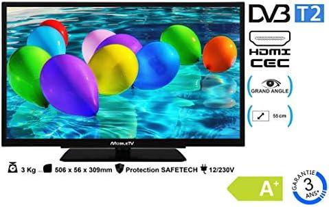 Televisión para acampada, caravana o camión, 21,5 pulgadas, 55 cm, TDT 4K, UHD MobileTV, LED HD, 12 V, 220 V: Amazon.es: Electrónica