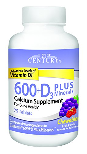 21st Century Calcium 600 mg +D Plus Minerals Chewable Tablets, 75 (Calcium Supplement Chewable Tablets)
