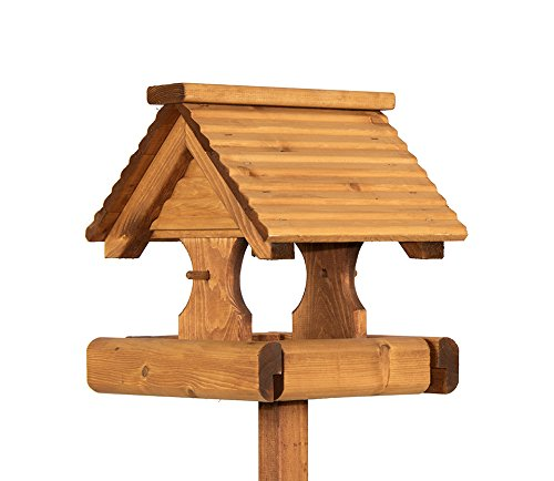 Riverside Woodcraft Rustic Timber Roof Bird Table With Anti Bacterial Coating