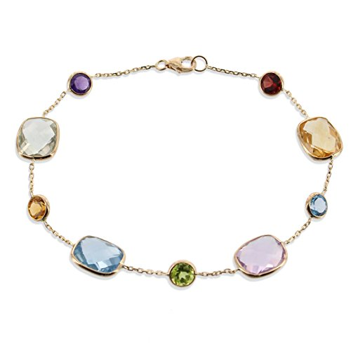 - 14K Yellow Gold Link Station Bracelet With Cushion Cut And Round Gemstones
