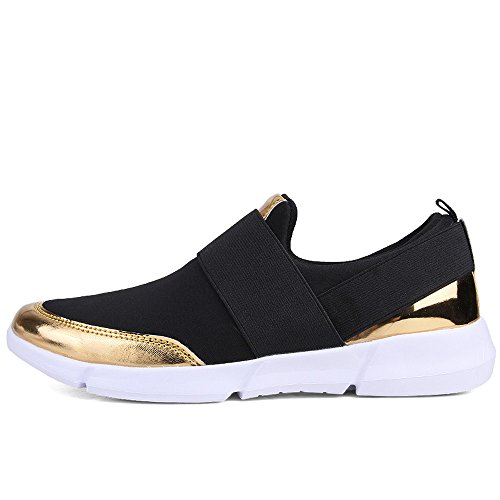 On cómodo Sneakers Zapatos Mocasines Negro transpirable Para Slip Moda Flats a Mujer la Zenobia aBZxx