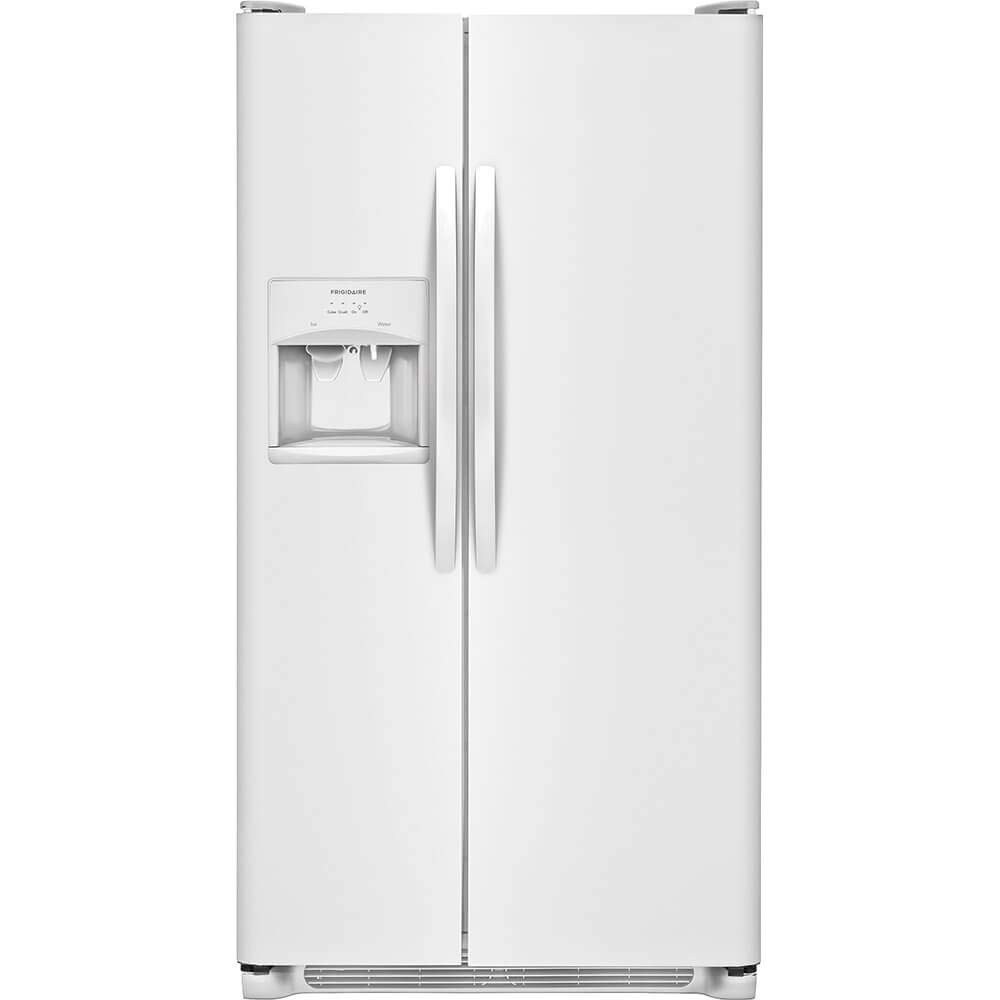 "FFSS2615TP 36"""" Side-by-Side Refrigerator with 25.5 cu. ft. Capacity LED Lighting External Ice and Water Dispenser 2 Store-More Glass Shelves 2 Wire Freezer Shelves and Automatic Ice Maker in Pearl White"