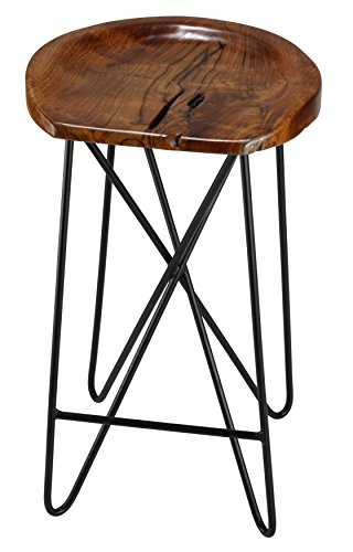Admirable Bare Decor Aloha Backless Teak Counter Stool With Metal Legs Gmtry Best Dining Table And Chair Ideas Images Gmtryco