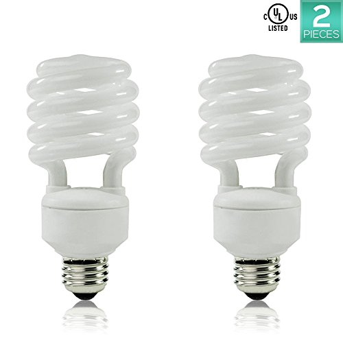 Luxrite LR20200 (2-Pack) 23-Watt CFL T2 Mini Spiral Light Bulb, Equivalent To 100W Incandescent, Day Light 6500K, 1600 Lumens, E26 Standard - 23w Spiral