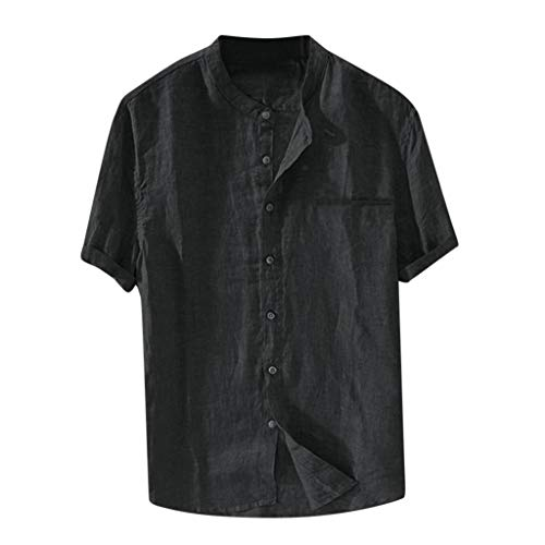 Nuewofally Mens Casual Striped Long Sleeve Shirt Crew Mandarin Collar Henley Shirts Button Up Baggy Cotton Linen Blouse (Black,L) ()