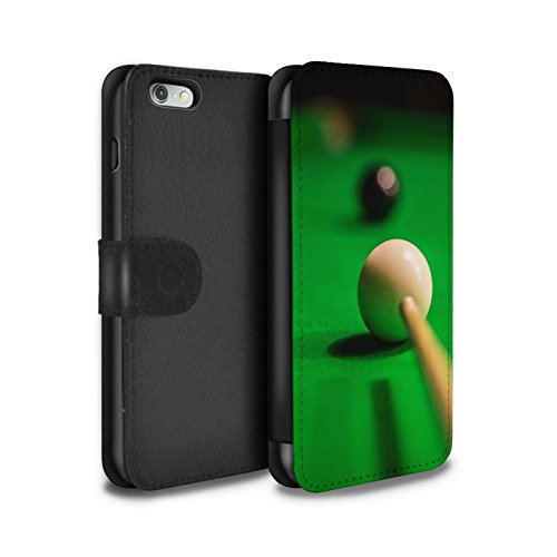 Price comparison product image STUFF4 PU Leather Wallet Flip Case/Cover for Apple iPhone 6S / Black Ball/Cue Design / Snooker Collection