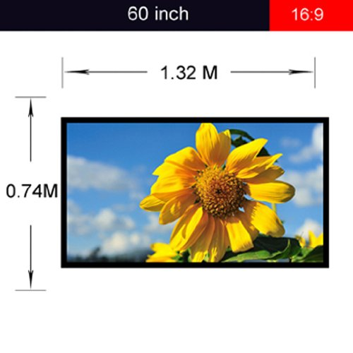 Excelvan Portable and Collapsible 60 inch 16:9 Fabric Matte White Projector Projection Screen Material