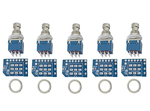 5 pcs 3pdt Stomp Footswitch incl. PCB, metal washer, for Guitar Pedal True Bypass foot switch