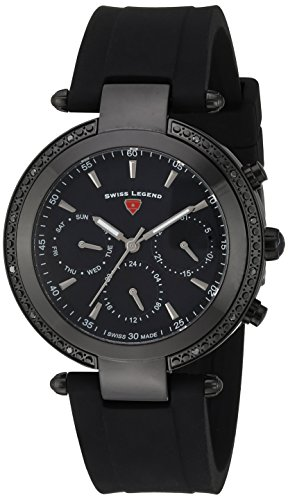 Swiss Legend Women's 'Madison' Quartz Stainless Steel and Silicone Casual Watch, Color:Black (Model: 16175SM-BB-01)