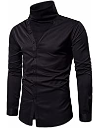 Long Sleeve Turtleneck Shirt Silm Fit For Men,From Size M Through XXL,Fashion Button Blouse Tops Colthes