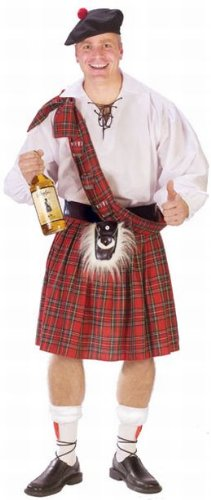 Fun World Men's Big Shot Scot Adult Costume, Multi, Standard