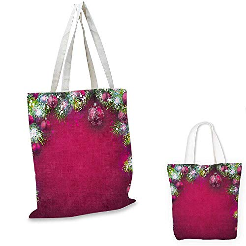 Christmas canvas laptop bag Festive Traditional Composition with Fir Branches Vivid Balls Snowflakes canvas tote bag with pockets Magenta Green White. 12