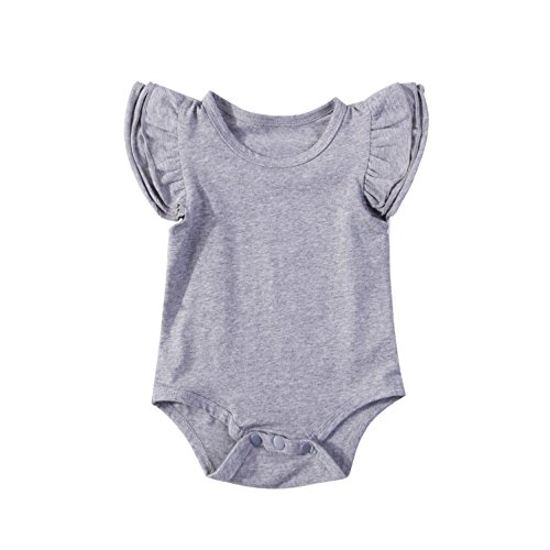 INHoney Baby Girl Basic Short Sleeve Ruffle Bodysuit Cotton Romper Shirt (12-18 Months, Gray)