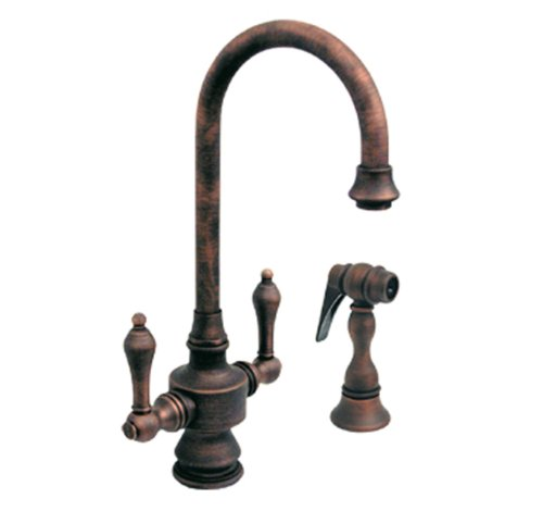 Whitehaus WHKSDLV3-8104-ACO Vintage-3 5 1/4-Inch Dual Handle Bar Faucet with Short Gooseneck Spout, Lever Handles and Side Spray, Antique Copper (Aco Dual Handle Faucet)