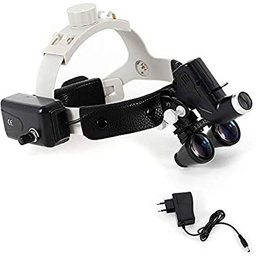 AXH 3.5X Medical Magnifier with Rechargeable LED Head Lamp Head-Mounted Dentist Dental Surgical Medical Binocular Loupes for Dental Surgical