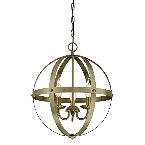 Westinghouse Lighting 6353700 Stella Mira Three-Light Indoor Chandelier, Pendant, Antique Brass