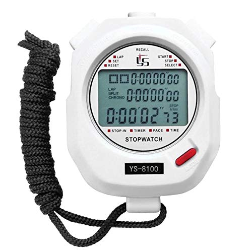Multifuction Professional Digital Stopwatch Timer Portable Outdoor Sports Running Training Timer Chronograph Stop Watch White 100 Tracks