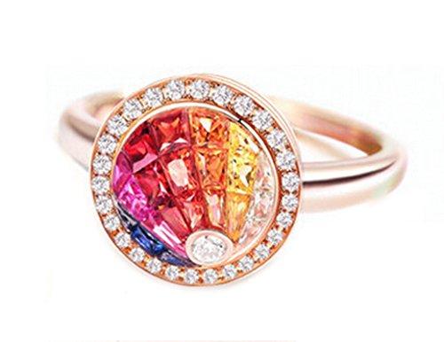 18K Gold Ring,1.0Ct Irregular Cut Certified Diamond Sapphire Ruby Ring Wedding Ring for Women Size 6 by Epinki