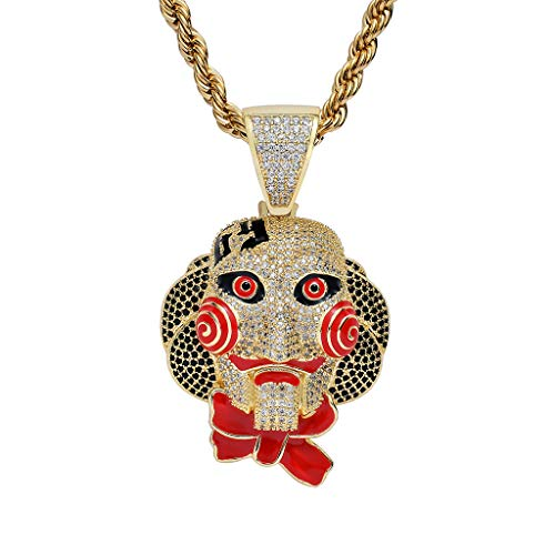 MoCa Hip Hop Iced Out Bling Chain Clown 69 Pendant Halloween Saw Billy Cosplay Necklace with 24 Inch Stainless Steel Rope Chain (Gold) -
