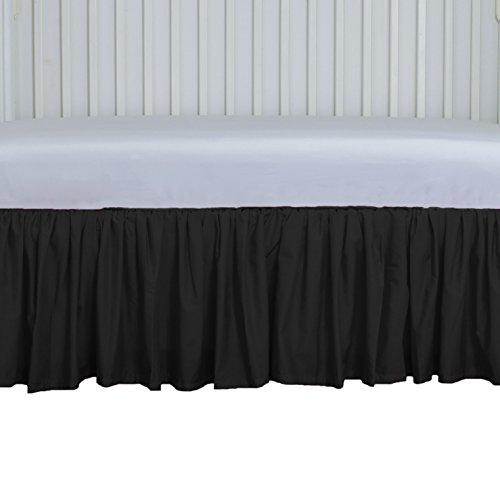Gathered Crib Dust Ruffle Black Cribskirt 15 inches long 4 sided