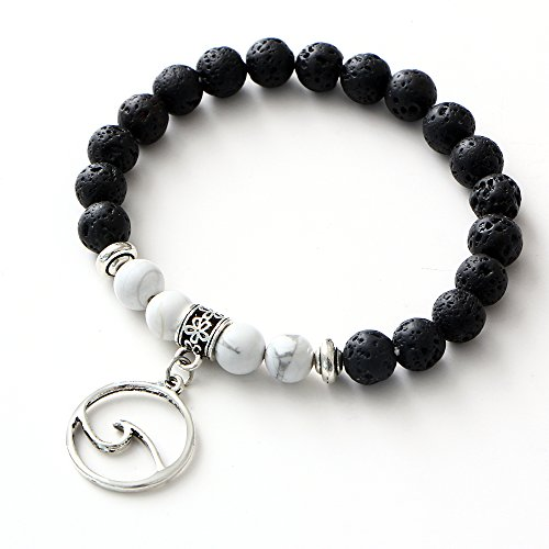 17mile Volcanic Stone Marble Charm Essential Oil Diffuser Bracelet Stretchable Prayer Stone bracelet Natural Gemstone Wave Peace Dove Gifts for Women Fashion Stretchable Bracelet