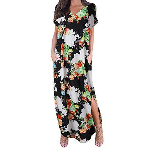 aihihe Boho Maxi Dresses for Women Summer Plus Size V Neck Short Sleeve Floral Print Beach Dress with Pocket (White,XL)]()