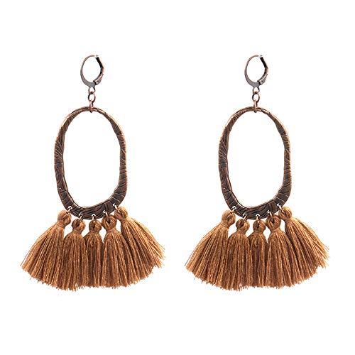 Long Tassel Bohemia Earring Dangle Drop Earrings Hoop Resin Handmade Tassel Multicolored Pendant Earrings for Women Fashion Jew Summer (brown)