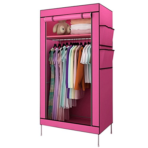 FidgetGear Portable Closet Wardrobe Clothes Oxford Cloth Rack Storage Organizer With ShelfRose Red from FidgetGear