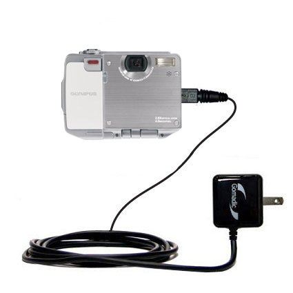 Gomadic Intelligent Compact AC Home Wall Charger suitable for the Olympus IR-500 - High output power with a convenient, foldable plug design - Uses TipExchange Technology by Gomadic