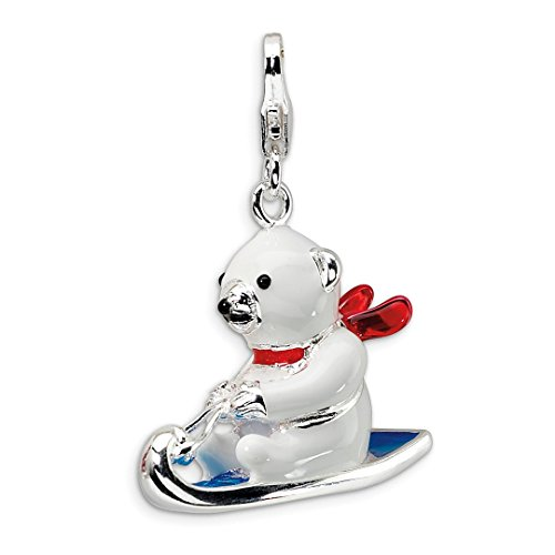 Collars Cat Swarovski (925 Sterling Silver 3 D Enameled Polar Bear On Sled Lobster Clasp Pendant Charm Necklace Baby Winter Fine Jewelry For Women Gift Set)