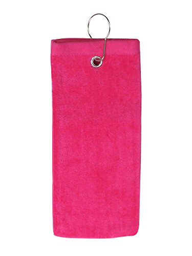 Hemmed Sport Towel (Simplicity Cotton Terry Sports Golf Towel with Grommet and Hook, Tro.Pink2101)