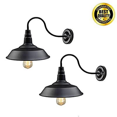 Black Wall Sconce Lighting Wall Lamp Gooseneck Barn Lights Industrial Vintage Farmhouse Wall Lamp E26 Indoor Wall Porch Light Set of 2