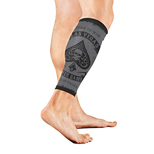 Fenda The Skeleton of Spade Trump in Poker Calf Compression Sleeve Leg Compression Socks for Shin Splint Calf Pain Relief Men Women and Runners Improves Circulation Recovery (Card Sleeves Skeleton)