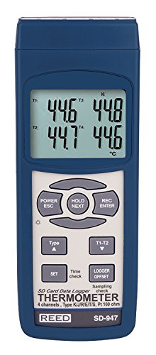 (REED Instruments SD-947 SD Series Thermocouple Thermometer, Data logger, 4 Channel, Type K, J, R, S, E, T and RTD, with NIST Calibration Certificate)