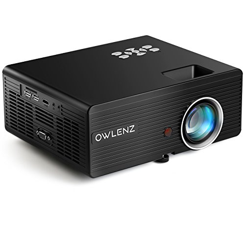 Owlenz 2300 Lumens LCD Mini Projector, Multimedia Home Theater Video Projector Support 1080P HDMI USB SD Card VGA AV Home Cinema TV Laptop Game iPhone by OWLENZ
